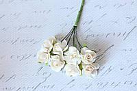 Бумажные цветочки для скрапбукинга 8 шт. 2-2,5 см на ножке бежевые, фото 1