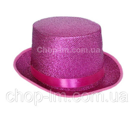 Карнавальный цилиндр малиновый, шляпа (сценический головной убор), фото 2