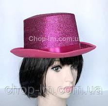 Карнавальный цилиндр малиновый, шляпа (сценический головной убор), фото 3