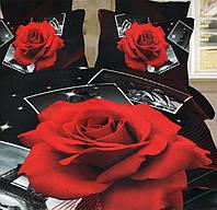 Черное постельное белье из сатина с алой розой