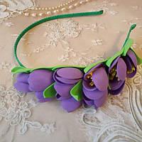 Обруч для волос с цветами крокусы, тюльпаны