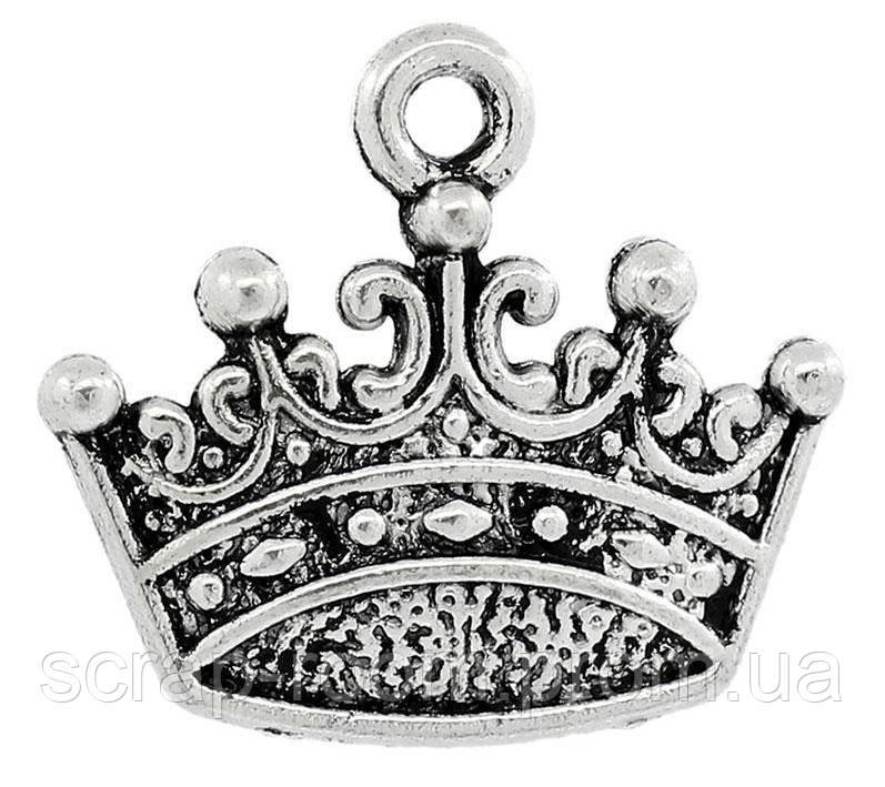Подвеска металлическая Корона серебро 18*16 мм