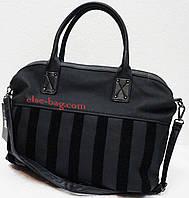 Женская сумка- саквояж с текстильной полоской