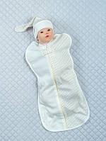 """Евро-пеленка для новорожденных """"Горошек"""" молочный"""
