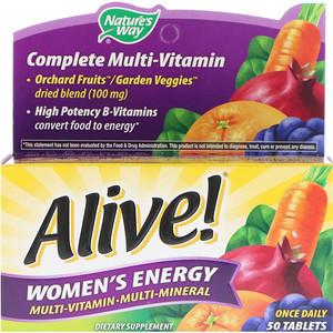 Nature's Way, Alive! Женская Энергия, Мультивитамины - Мультиминералы, 50 таблеток (для женщин)
