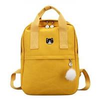 Рюкзак для девочки подростка с котом и помпоном жёлтый в стиле Канкен