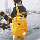 Рюкзак для девочки подростка с котом и помпоном жёлтый в стиле Канкен, фото 2