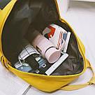 Рюкзак для девочки подростка с котом и помпоном жёлтый в стиле Канкен, фото 5