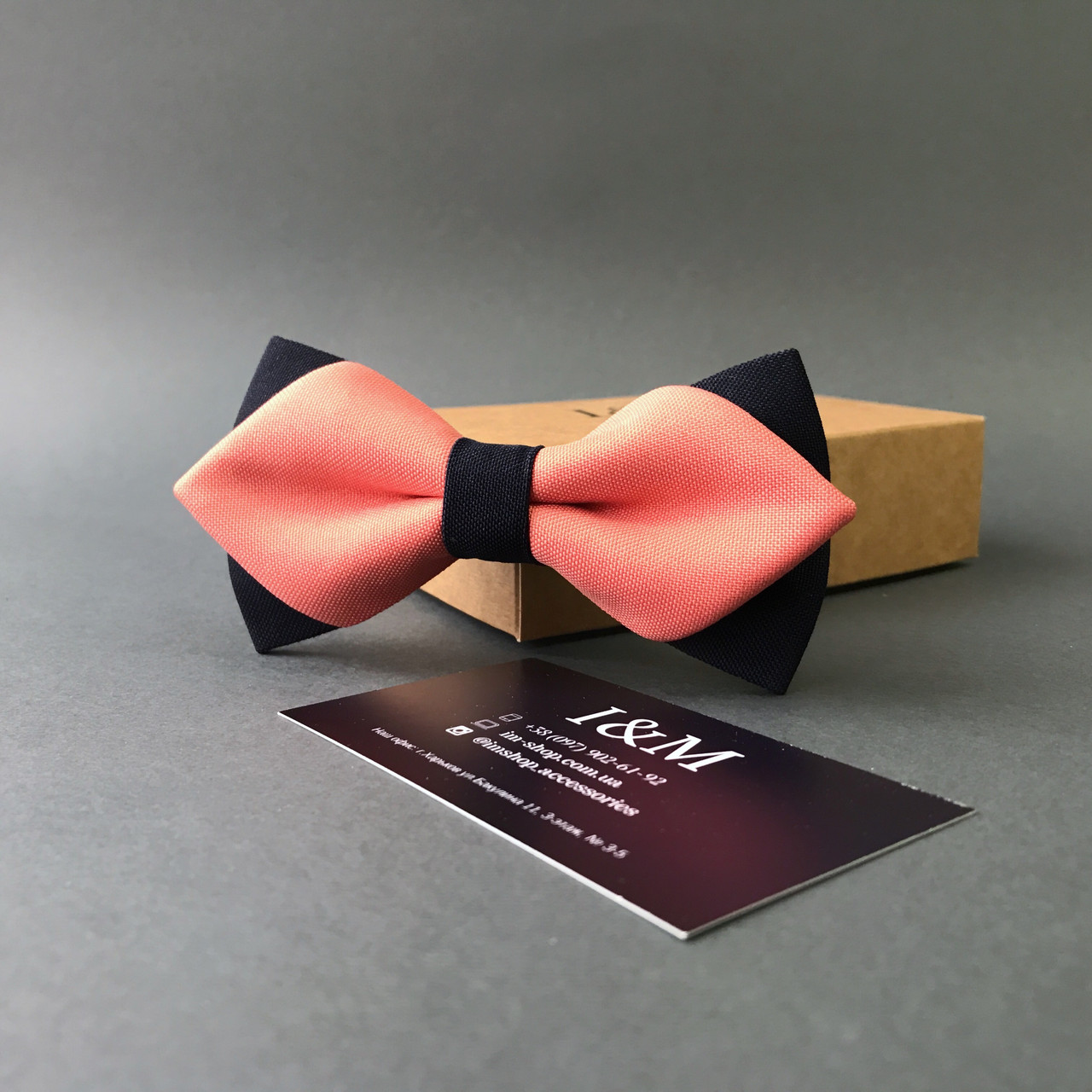 Галстук-бабочка I&M Craft с острыми концами персиковый с черным (100147N)