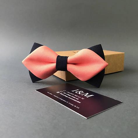 Галстук-бабочка I&M Craft с острыми концами персиковый с черным (100147N), фото 2