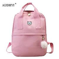 c77c2626e944 Рюкзак для девочки подростка с котом и помпоном розовый в стиле Канкен