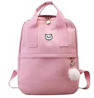 Рюкзак для девочки подростка с котом и помпоном розовый в стиле Канкен