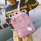 Рюкзак для девочки подростка с котом и помпоном розовый в стиле Канкен, фото 2