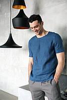 Футболка из льна, брюки или шорты, любого цвета на выбор , костюм летний из льна мужской., фото 1