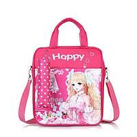 Школьный рюкзак-сумка для девочки розового цвета с пеналом