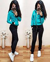 Костюм спортивный турецкая двухнитка, мята+черный, фото 1