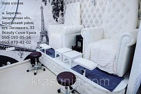 Педикюрное кресло Трон Ice Queen, Стульчик мастера для педикюра Kodi, Подставка для экспресс маникюра под Трон, Подставка для педикюра на пневмодъемнике