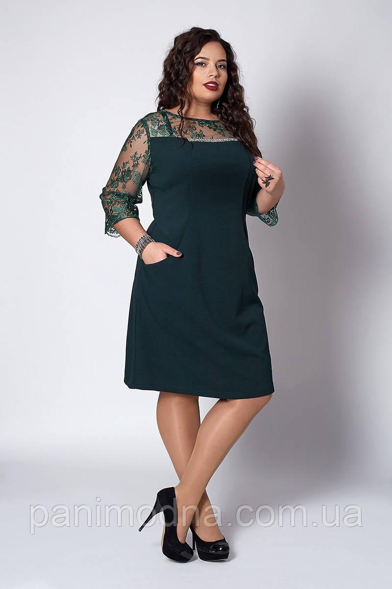 Женское нарядное платье с кружевом - код 576