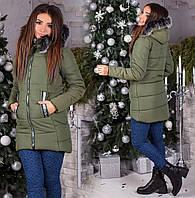 Женская зимняя куртка с капюшоном плащёвка+силикон 300
