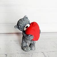 Фигурка мишка Тедди с сердцем Подарок на 8 марта Ручная работа, фото 1
