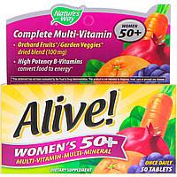 Nature's Way, Alive! Для женщин 50+, Мультивитамины и мультиминералы, Для взрослых 50+, 50 таблеток