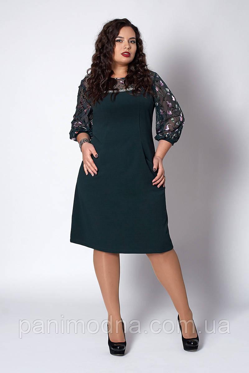 Женское нарядное платье с кружевом - код 580