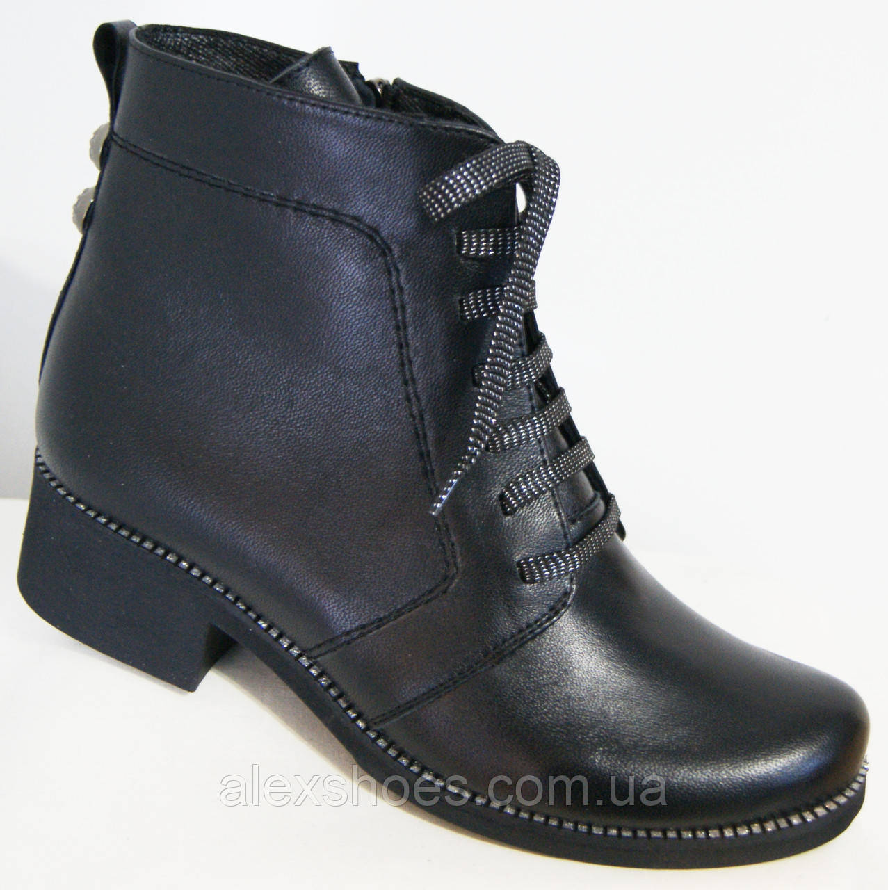 Ботинки демисезонные из натуральной кожи большого размера от производителя модель В5172-15К