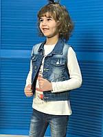 Жилетка  джинсовая для девочки на рост 146см