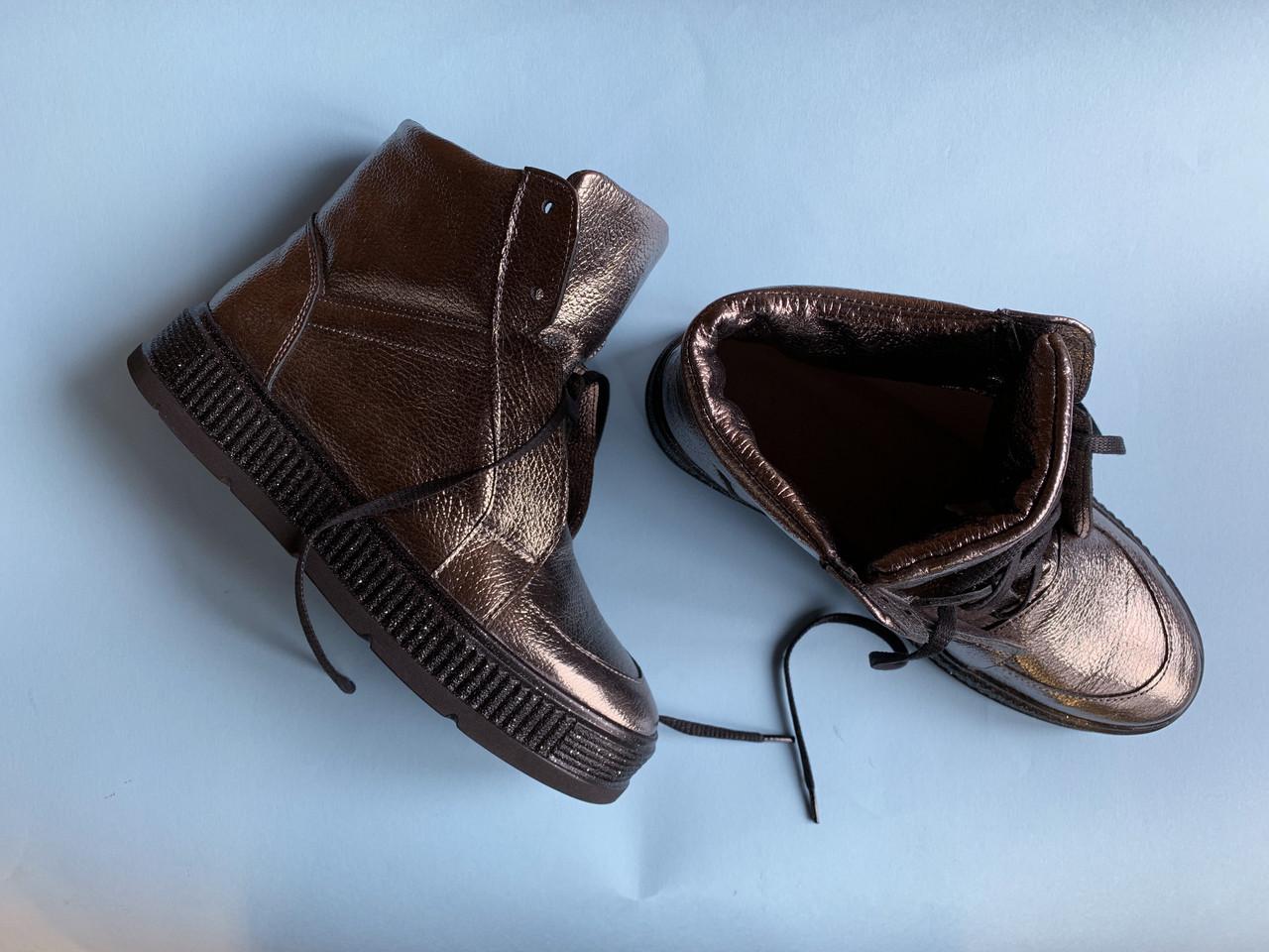 Ботинки 566-7 никель (С152  черн + блестки)