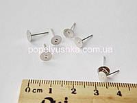 Сережки-цвяшки плоскі Срібні