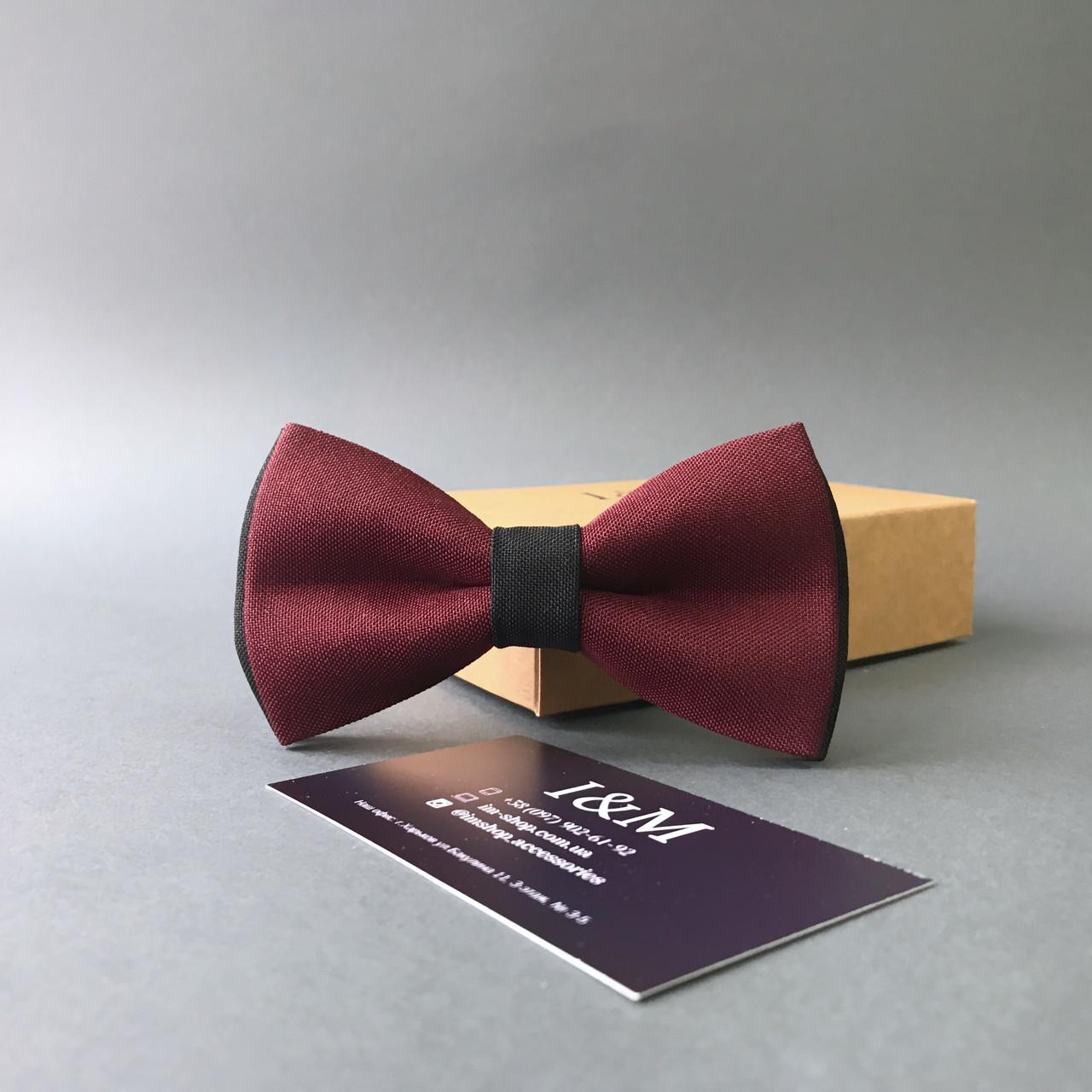 Краватка-метелик I&M Craft двоколірний бордовий з чорним (010602)