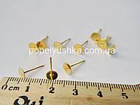 Сережки-цвяшки плоскі Золото