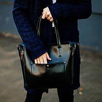 Кожаная сумка в черном цвете , кожаные сумки классика KT22223