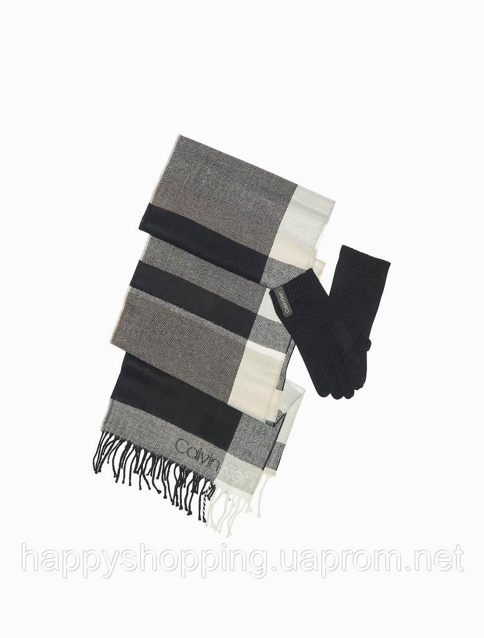 Женский оригинальный комплект шарф+ перчатки Calvin Klein