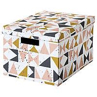 IKEA TJENA (403.982.15) Коробка с крышкой, белый, черный, розовый