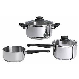 IKEA ANNONS (902.074.02) Набір посуду, 3 шт., Скло, нержавіюча сталь