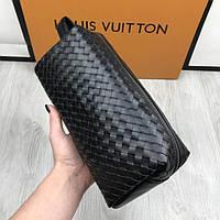 Кожаная мужская барсетка Bottega Veneta черная стильная с ручкой для переноски Боттега Венета люкс реплика, фото 1