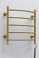 Полотенцесушитель ТЕПЛЫЙ МИР Овал золото металлик правосторонний с кнопочным переключателем