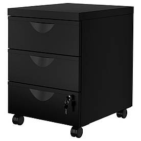IKEA ERIK (203.410.03) Комод на колесах/ 3 шухляди, чорний