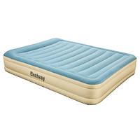 Надувная велюровая кровать Bestway 69007 бежево-голубая со встроенным электронасосом