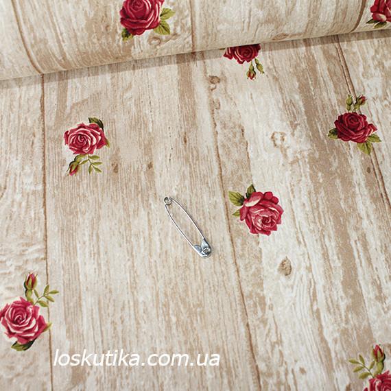 41009 Розочка в стиле прованс. Хлопковая ткань для декорирования, шитья и рукоделия. Цветочный принт.
