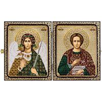 """Набор для вышивки иконы в рамке-складне """"Св.Вмч.Целитель Пантелеймон и Ангел Хранитель"""""""