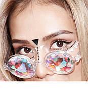 Очки калейдоскоп, круглые солнцезащитные очки, прозрачная оправа