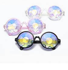 Очки калейдоскоп, круглые солнцезащитные очки, прозрачная оправа, фото 3