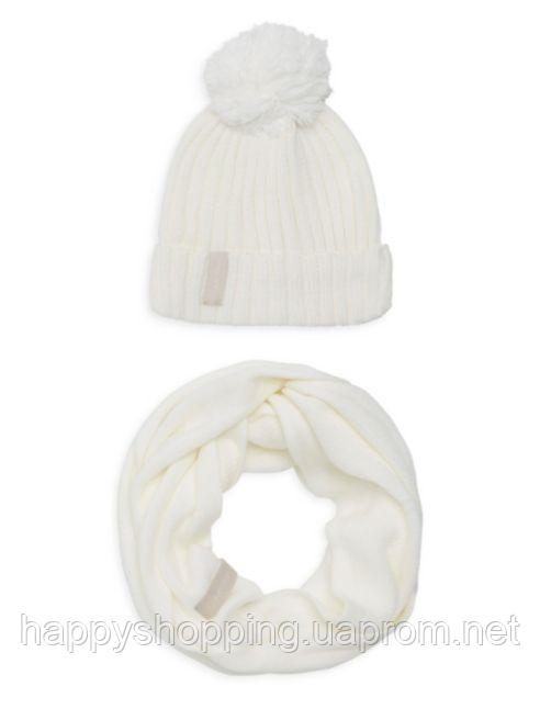 Женский оригинальный белый комплект снуд + шапка Calvin Klein