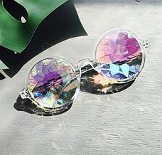 Очки калейдоскоп, круглые солнцезащитные очки, прозрачная оправа, фото 2