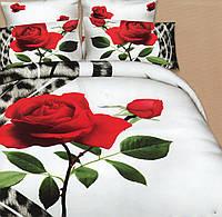 Белоснежное постельное белье с красной розой