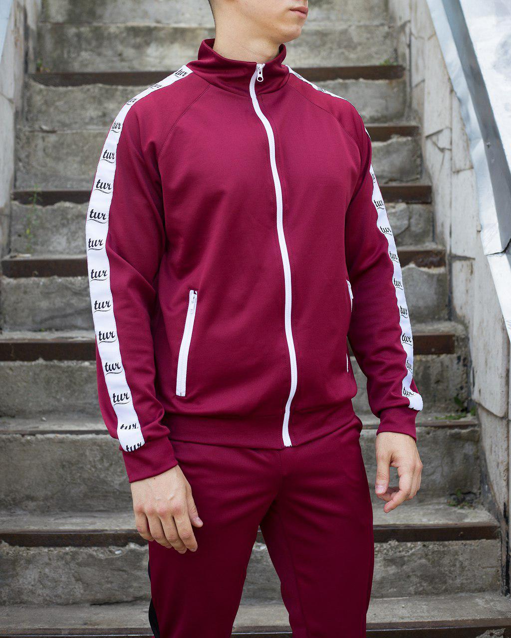Мастёрка, олимпийка, мужская спортивная кофта Smoke (Смок) бордового цвета