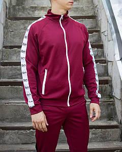 Мастёрка, олимпийка, мужская спортивная кофта Smoke (Смок) бордового цвета размера М