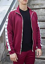 Мастёрка, олимпийка, мужская спортивная кофта Smoke (Смок) бордового цвета, фото 3